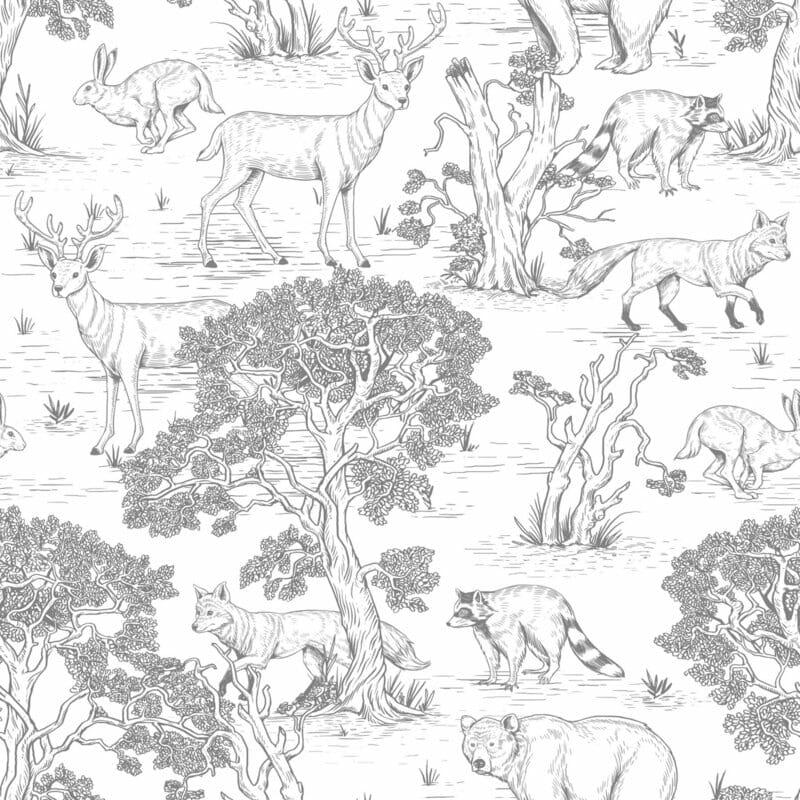 Animals White  ' Behang