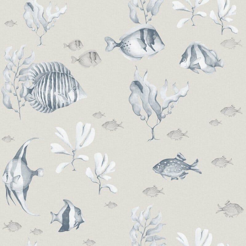 Blue&Beige Fish wallpaper
