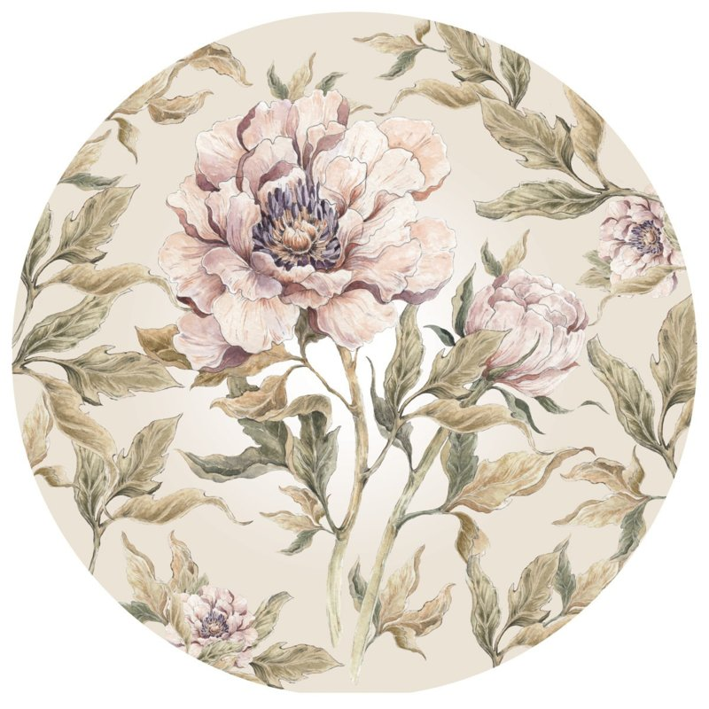 Wandsticker Peony in a Circle