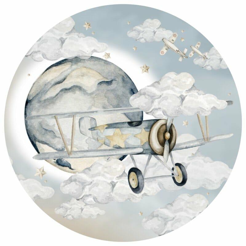 Wandsticker Plane in a Circle- Boys