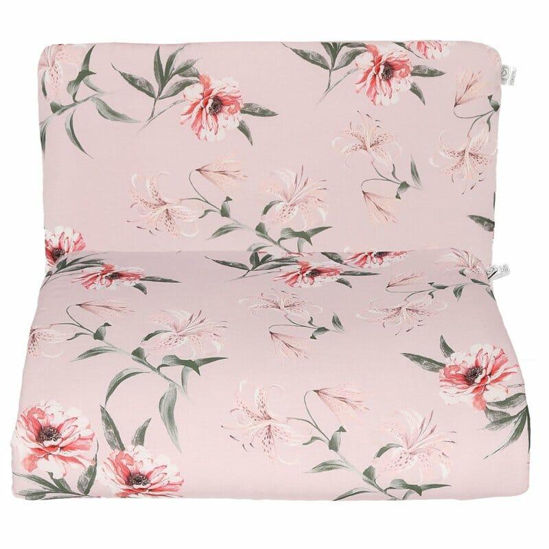 Red Flowers - quilt met kussen -75 x 65 cm, 30 x 40cm