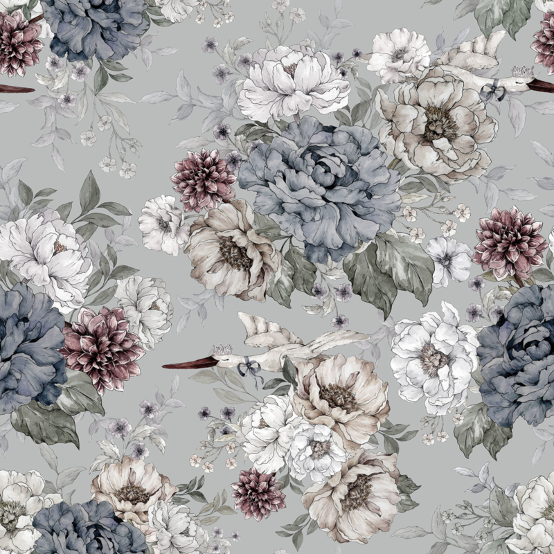 @dehuismuts Wallpaper Flowers and Storks- Dreamy Gray & Green-Unisex