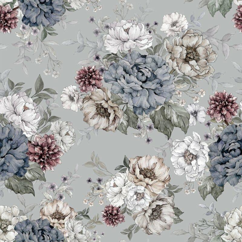 @dehuismuts Wallpaper Flowers - Dreamy Gray & Green - Unisex