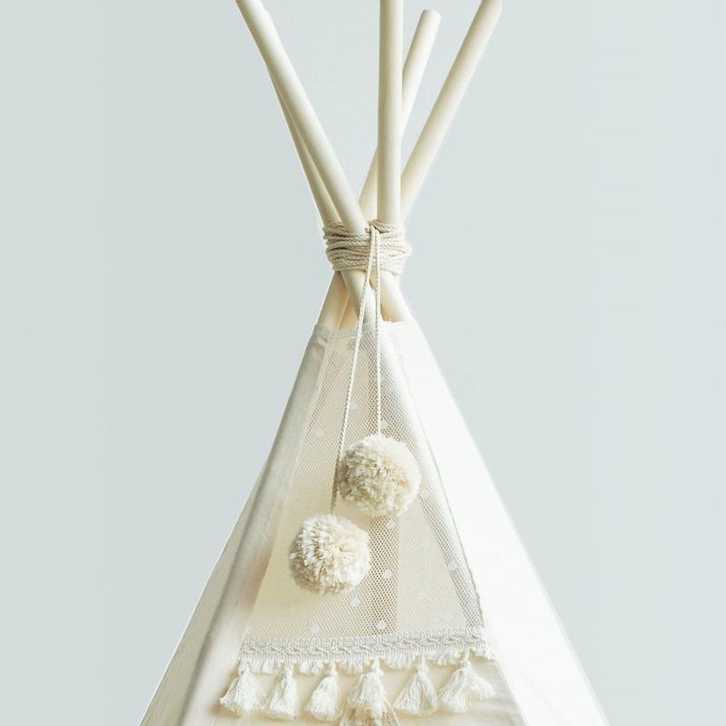Beige Pom Poms - Tipi Tent Toppers