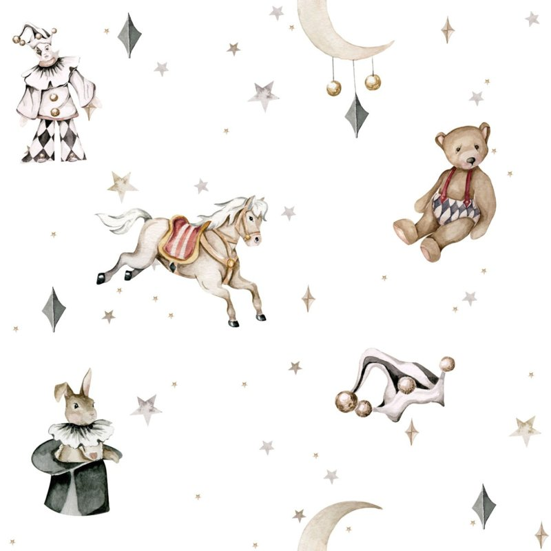 French characters in the light sky / Toys from the attic ' Behang