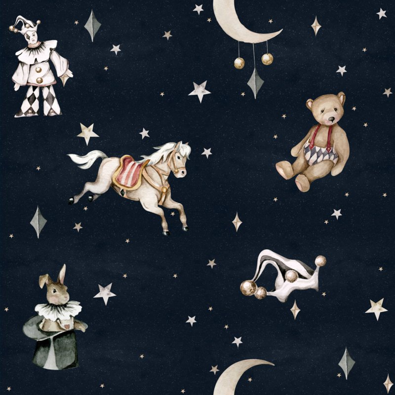 French characters in the night sky / Toys from the attic ' Behang