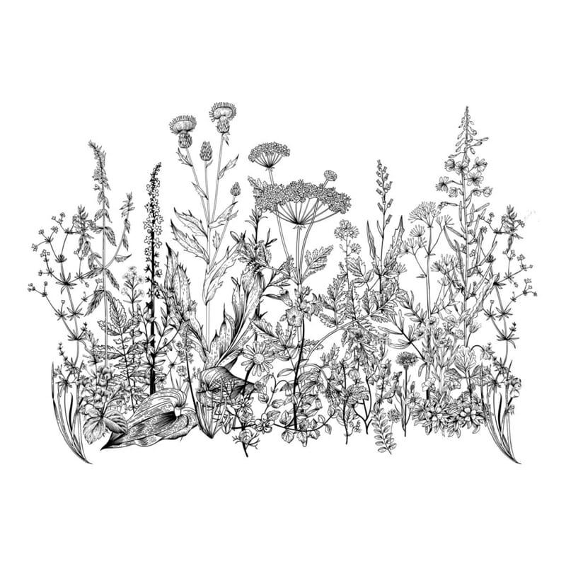 Wandsticker Black & White Meadow