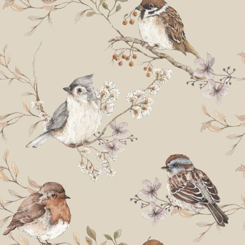 Birds Beige ' Behang