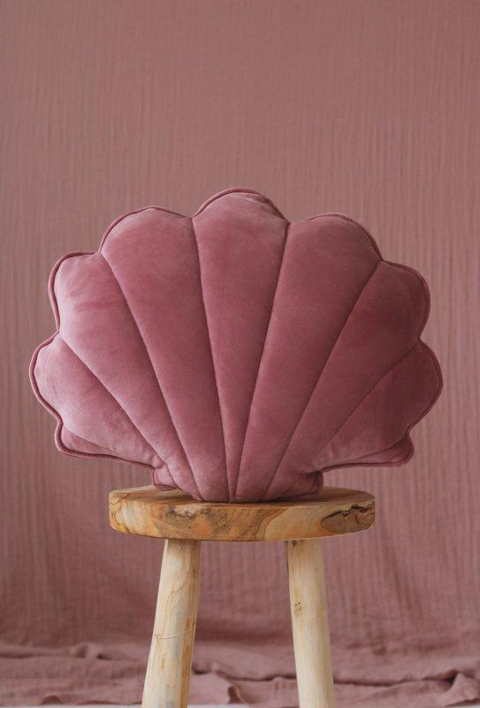 Velvet sierkussen schelp, 'Dirty Pink' -MoiMili