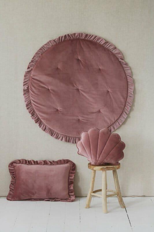Velvet speelmat met frills- Dirty Pink