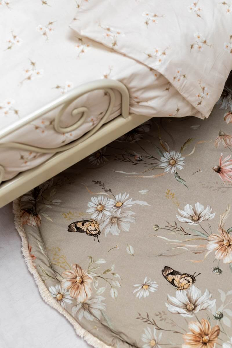 Gold meadow on Carmel - round baby play mat, boxkleed